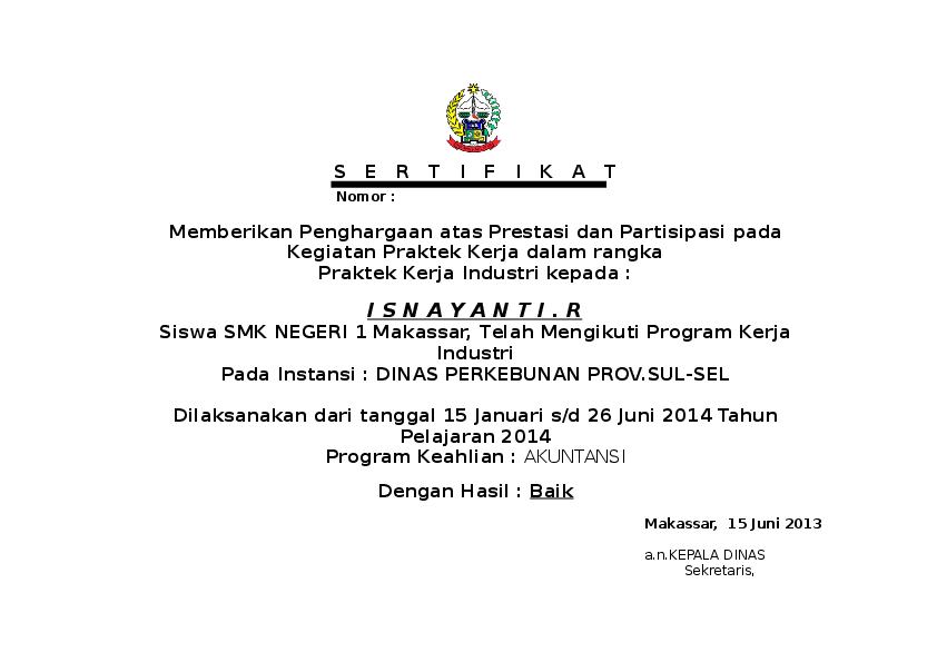 Sertifikat Pkl Arwinsyah Muhammad Academia Edu