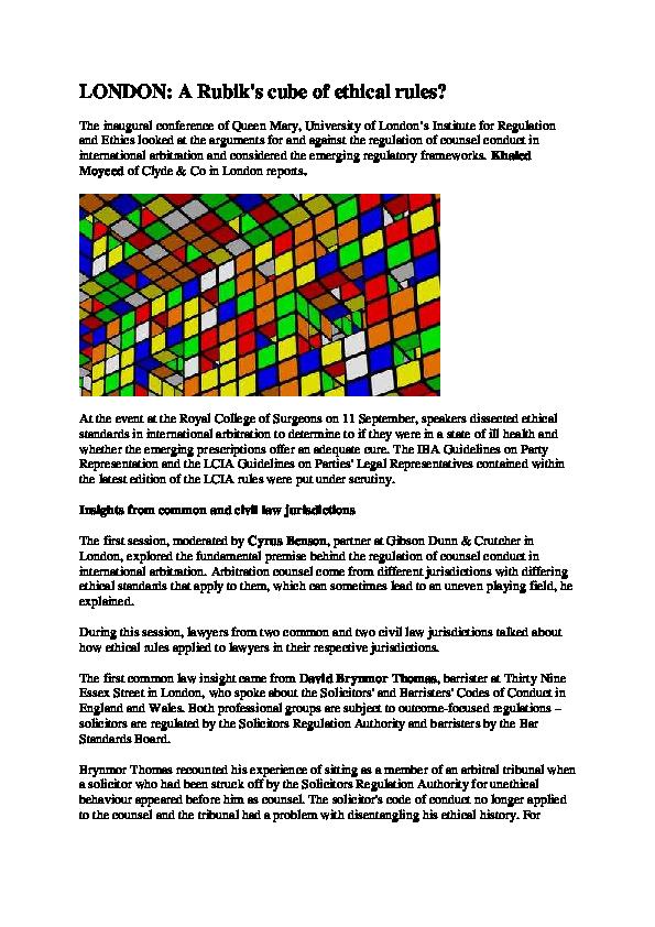PDF) A Rubik's cube of ethical rules? | Khaled Moyeed