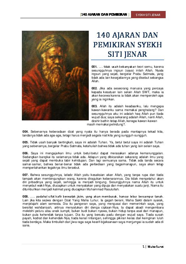 140 Ajaran Dan Puisi Syekh Siti Jenar Kerul Grandewa Academia Edu