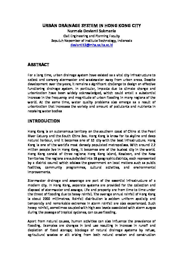 PDF) URBAN DRAINAGE SYSTEM IN HONG KONG CITY | Nurmala Devianti
