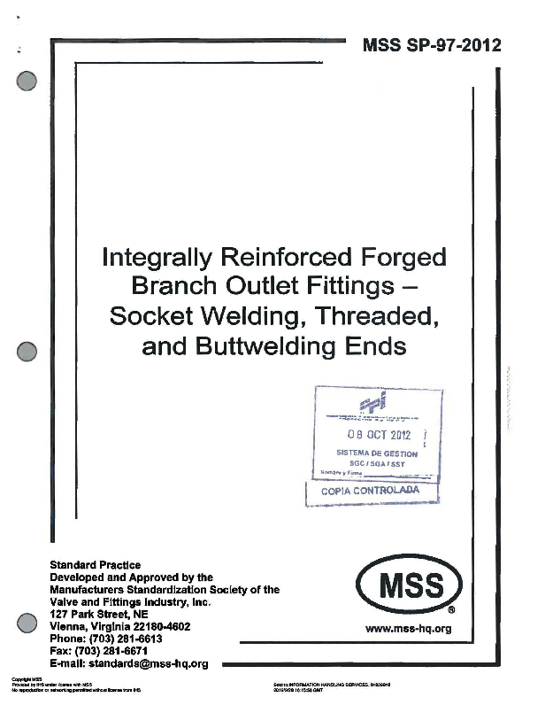 PDF) MSS SP 97 2012 Integrally Reinforced Forged Branch