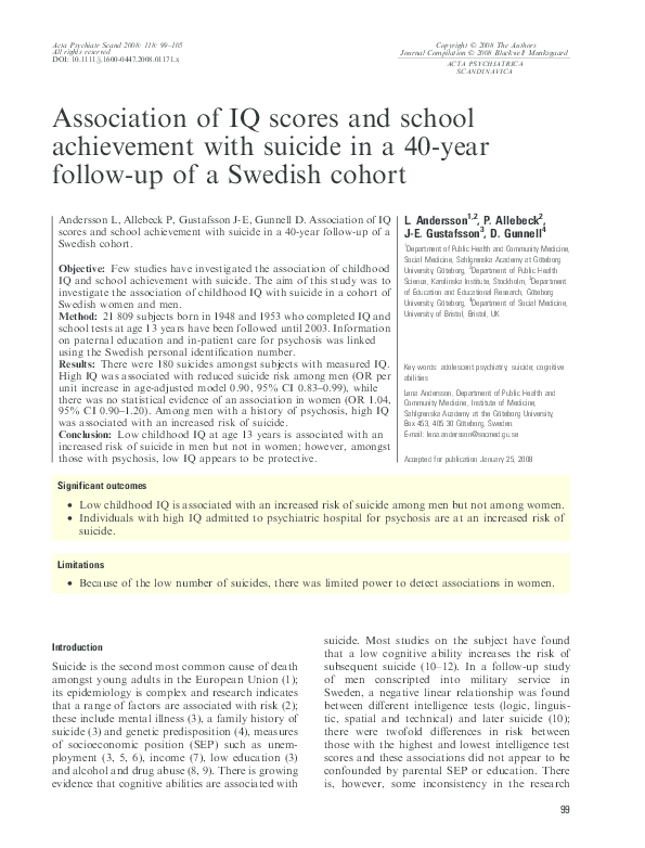 Does High Iq Increase Risk Of >> Pdf Association Of Iq Scores And School Achievement With Suicide In