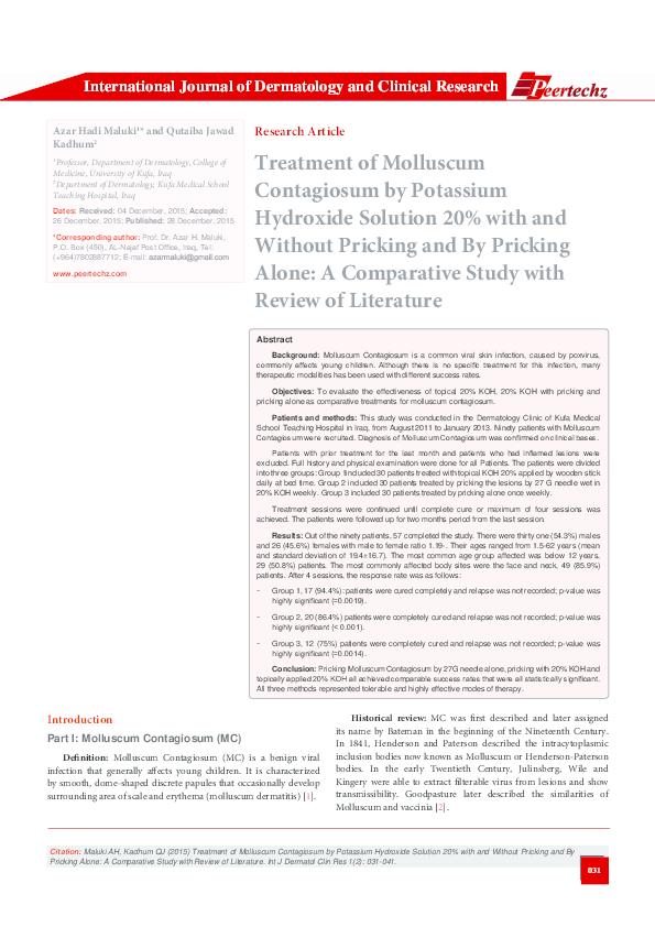 PDF) Treatment of Molluscum Contagiosum by Potassium