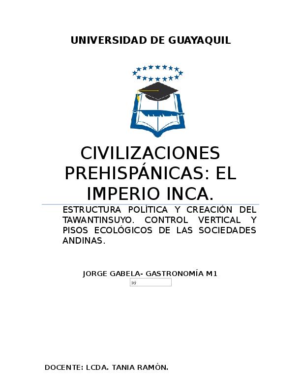 Doc Civilizaciones Prehispanicas Incas Jorge Gabela