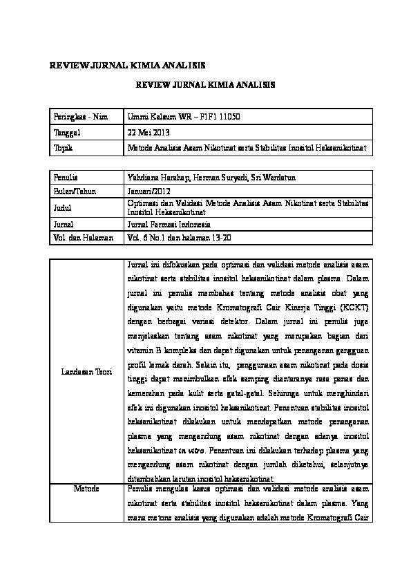 Doc Review Jurnal Kimia Analisis Akhmad Wasis Academia Edu