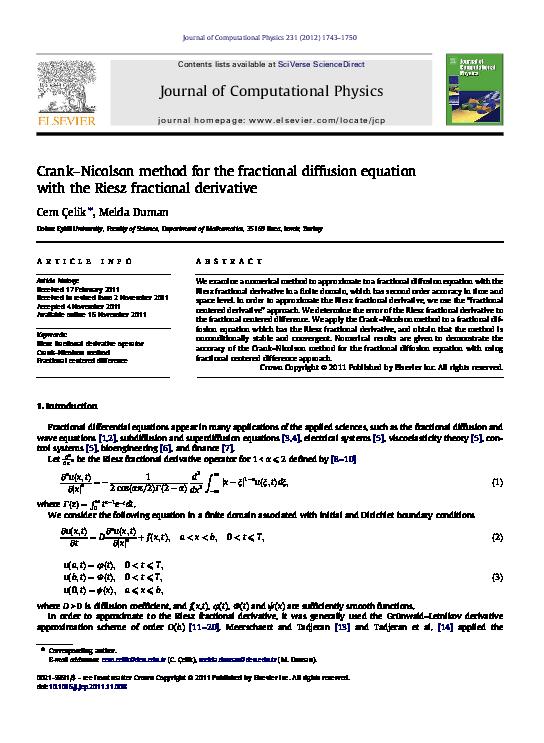 Crank-Nicolson method for the fractional diffusion equation