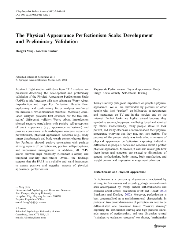 PDF) The Physical Appearance Perfectionism Scale: Development and