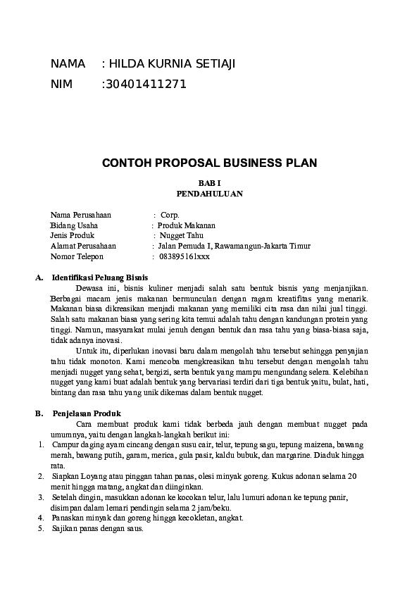 (DOC) CONTOH PROPOSAL BUSINESS PLAN | malik hemek ...