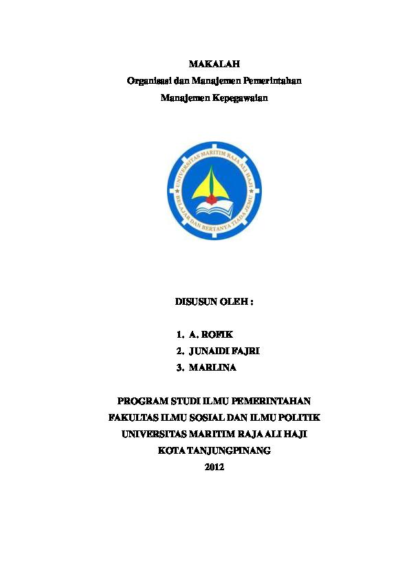 Pdf Makalah Organisasi Dan Manajemen Pemerintahan Ahmad Khaidir A L I Fullah Academia Edu