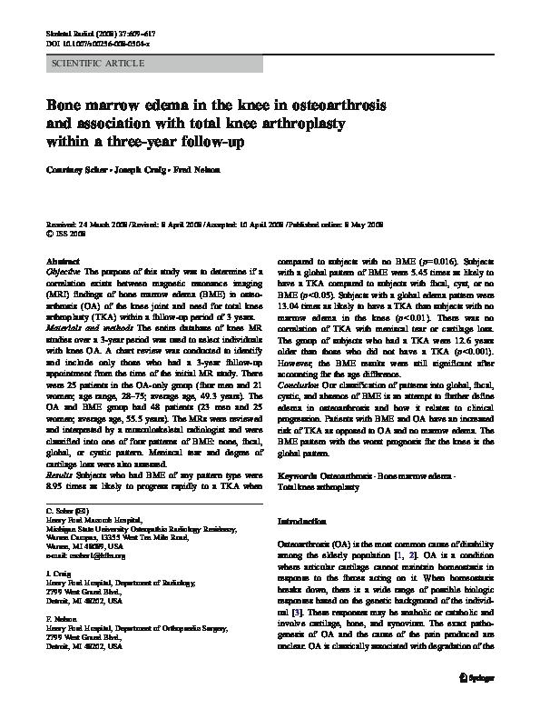 PDF) Bone marrow edema in the knee in osteoarthrosis and association