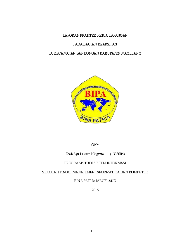 Doc Laporan Praktek Kerja Lapangan Pada Kecamatan Bandongan Kabupaten Magelang Diah Laksminingrum Academia Edu