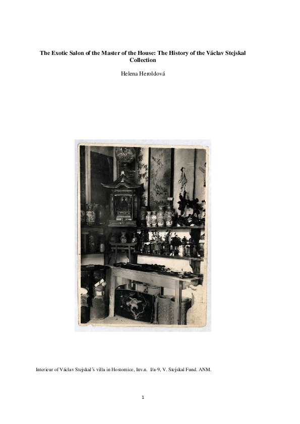 Pdf The Exotic Salon Of The Master Of The House The History Of The Vaclav Stejskal Collection Helena Heroldova Academia Edu