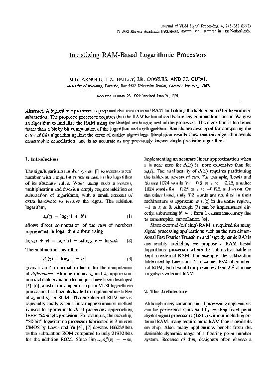 PDF) Initializing RAM-based logarithmic processors   Mark