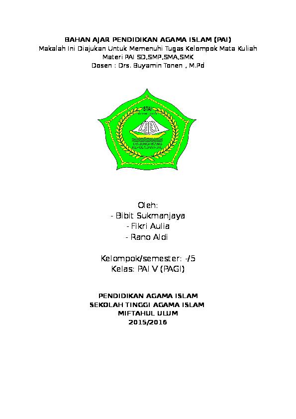 Doc Pendidikan Agama Islam Fikri Aulia Academia Edu