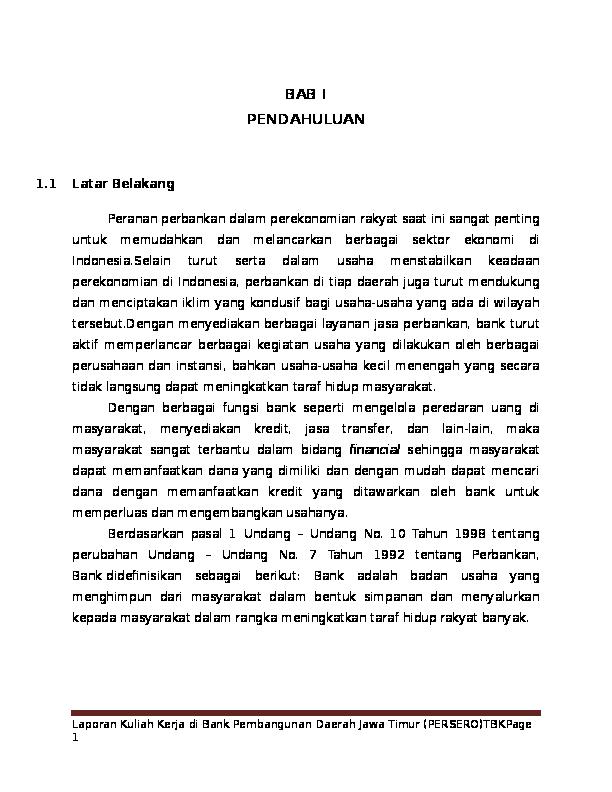 Doc Laporan Magang Di Bank Jatim Cabang Mojokerto Dewi Fatma Academia Edu