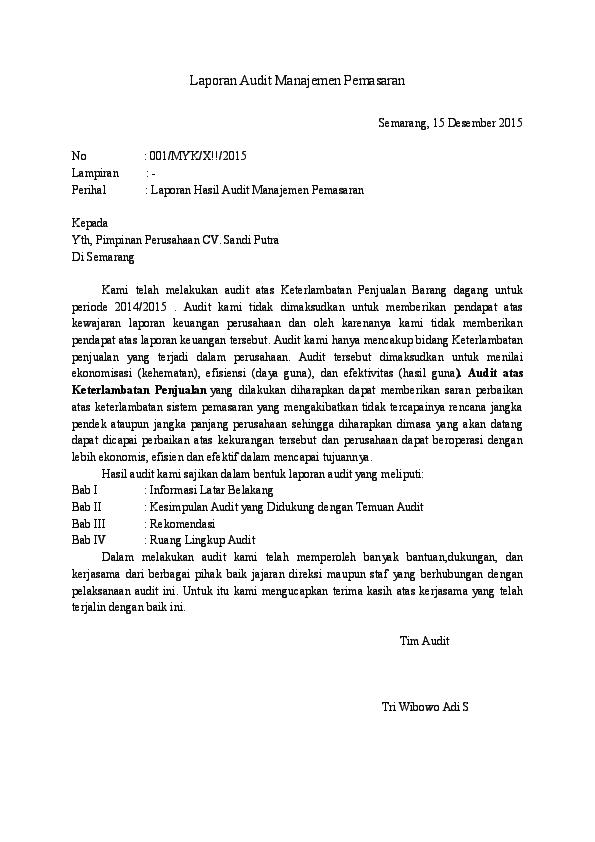 Contoh Laporan Audit Manajemen Pada Perusahaan Kumpulan Contoh Laporan