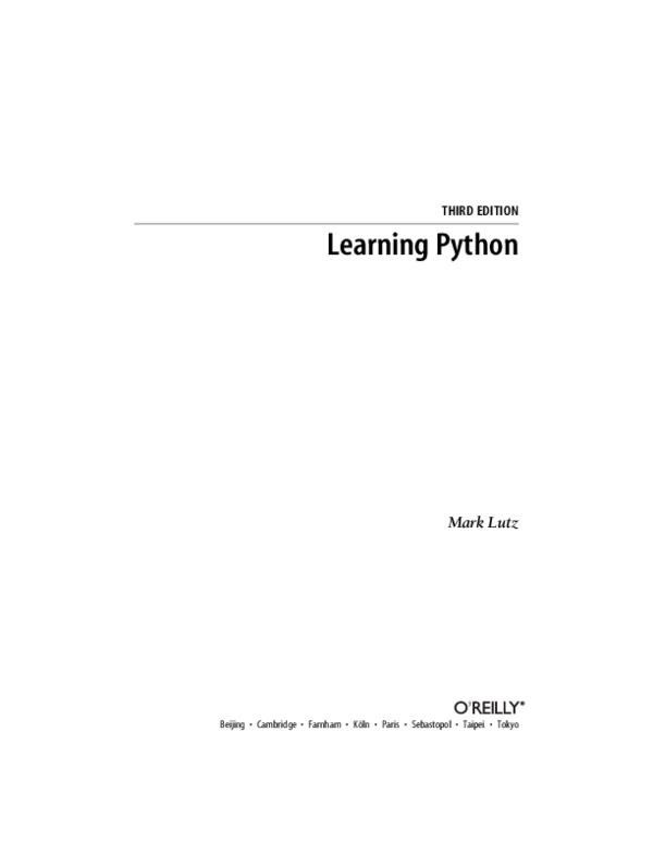 PDF) Learning Python (3th Edition) - Ascher, Lutz (O'Reilly