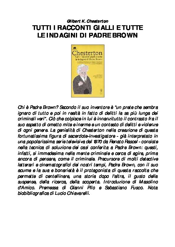 L Insalata Sotto Il Cuscino Pdf.Pdf Chesterton Tutti I Racconti Gialli E Tutte Le Indagini Di