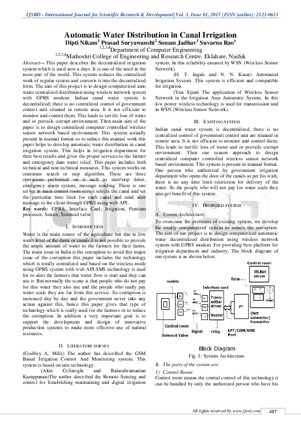 PDF) Automatic Water Distribution In Canal Irrigation   IJSRD