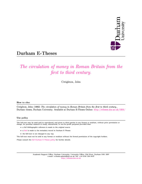 PDF) THESIS (1992) The circulation of money in Roman Britain