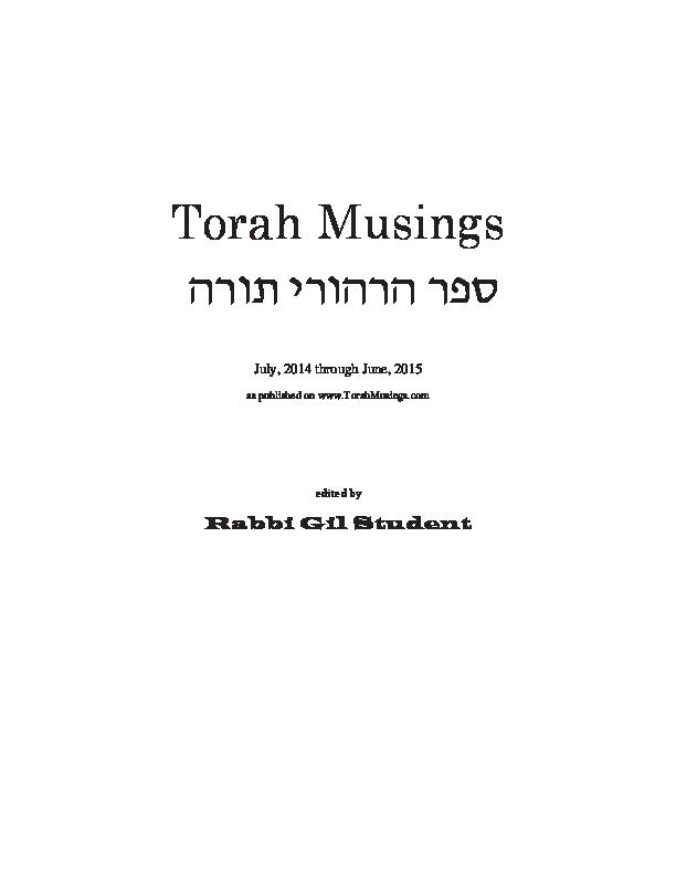 PDF) Torah Musings Book Jul 14 - Jun 15 | Gil Student