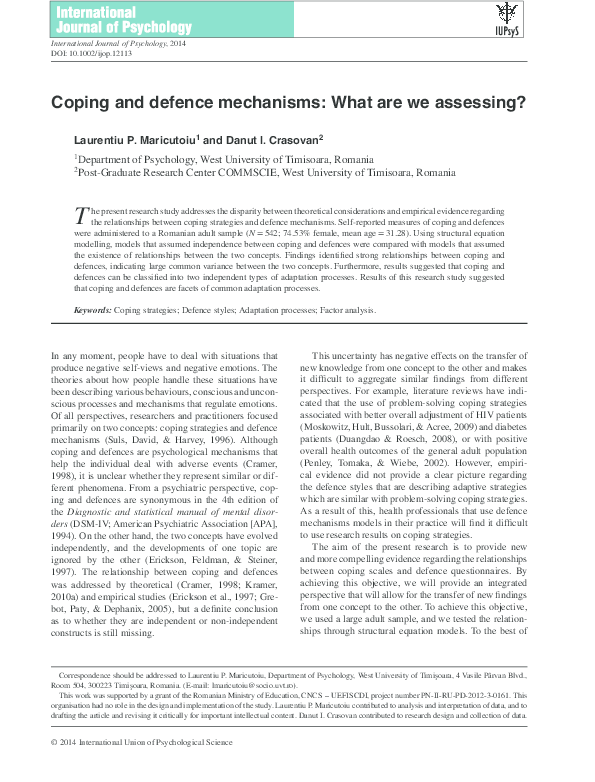 Pdf Coping And Defence Mechanisms What Are We Assessing Dănuţ Ioan Crasovan Academia Edu