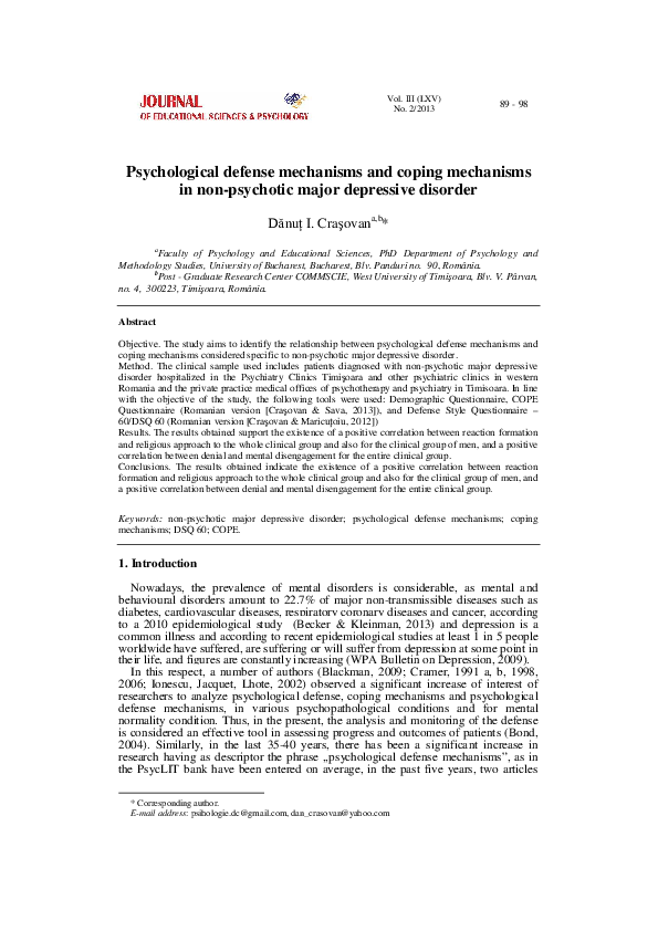 Pdf Psychological Defense Mechanisms And Coping Mechanisms In Non