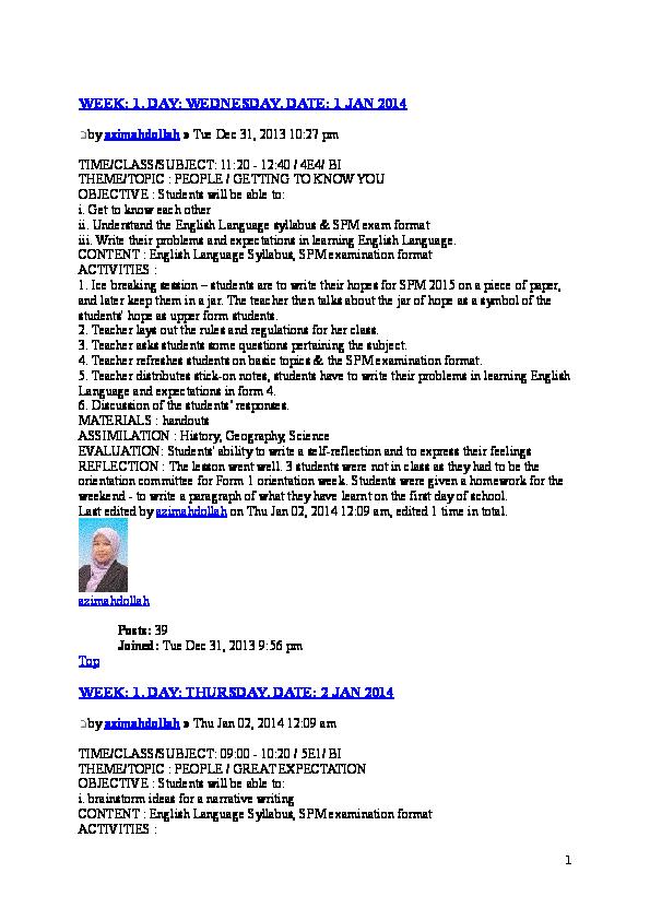 Doc Contoh Lesson Plan Bi Mursyidee Ij Academia Edu