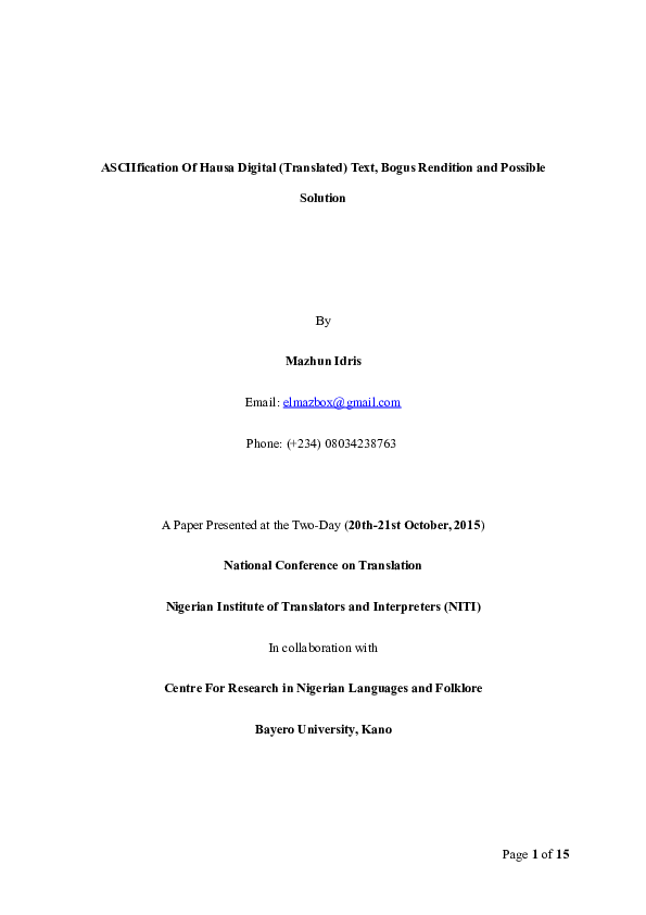 DOC) ASCIIfication Of Hausa Digital (Translated) Text, Bogus