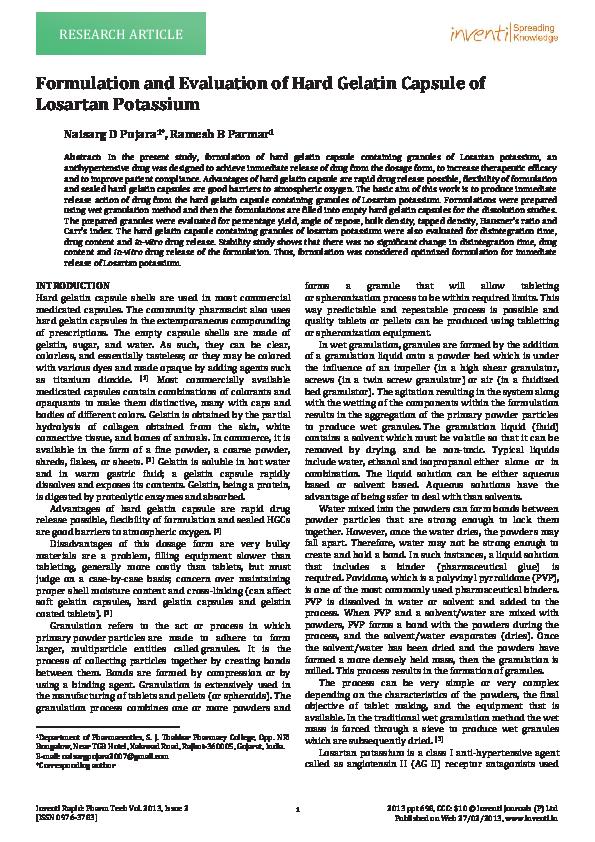 PDF) FORMULATION AND EVALUATION OF HARD GELATIN CAPSULE OF LOSARTAN