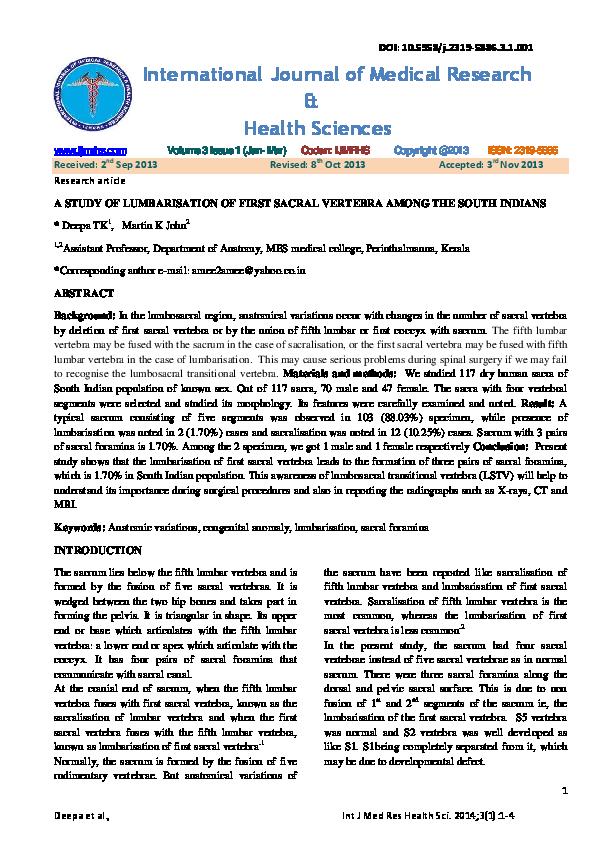 PDF) IJMRHS VOl 3 Issue 1   editor ijmrhs - Academia edu
