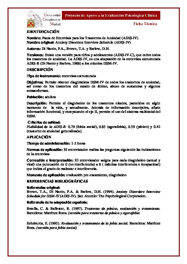 (PDF) FICHA TECNICA ADIS-IV F   Nare Santos - Academia.edu
