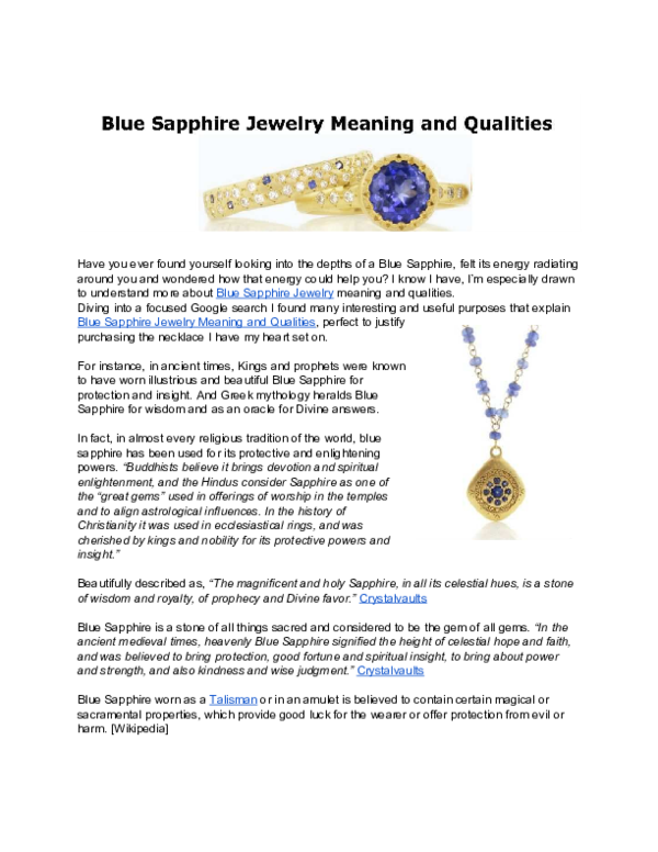 PDF) Blue Sapphire Jewelry Meaning and Qualities   As Kindred