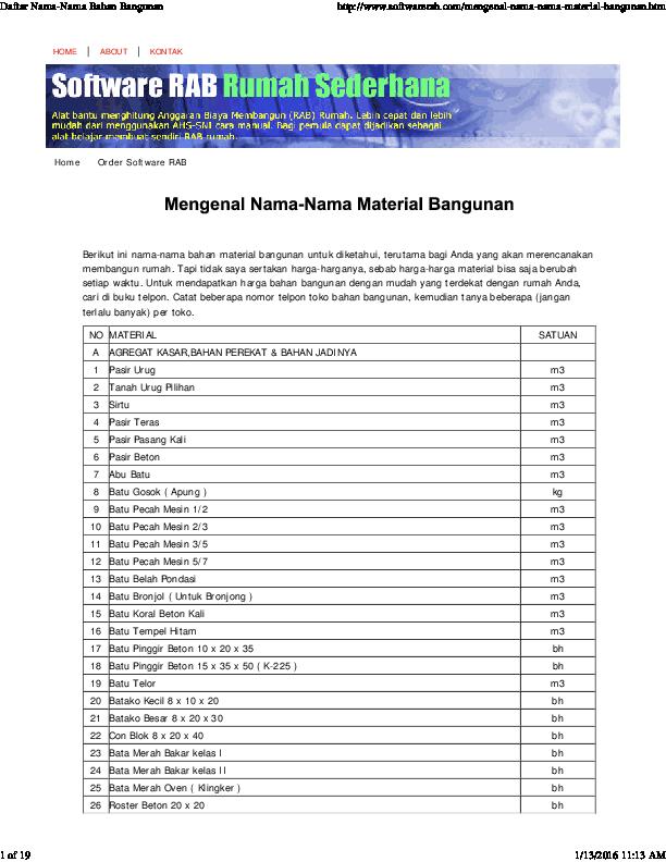Pdf Mengenal Nama Material Bangunan Idham Kurnia Muttaqin Academia Edu