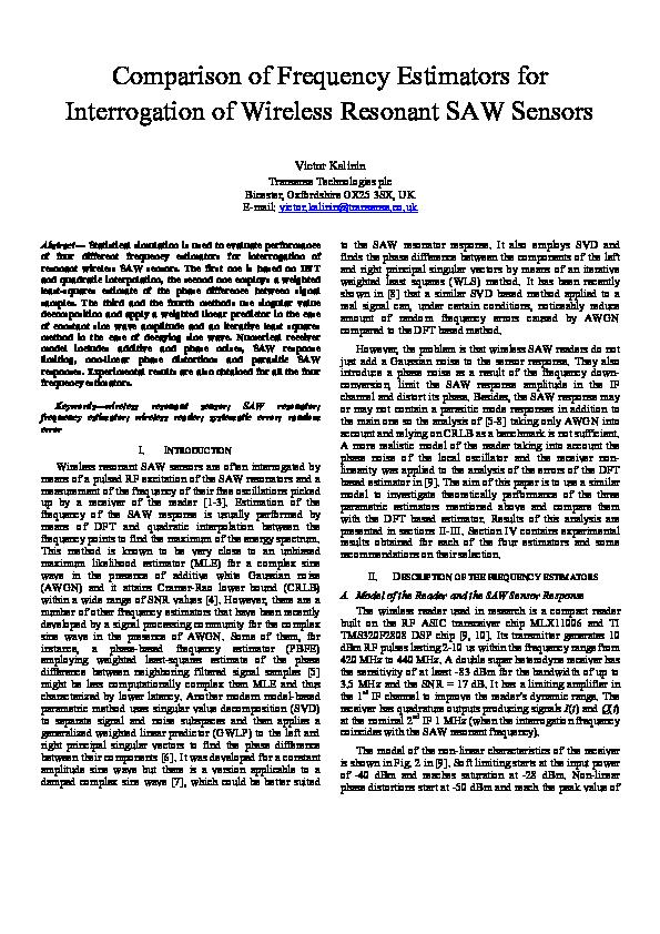 PDF) Comparison of frequency estimators for interrogation of