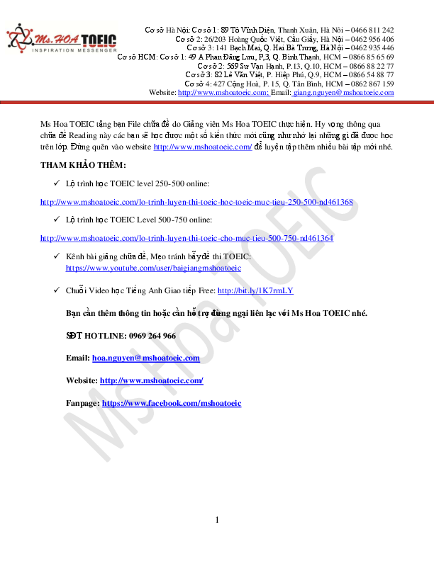 PDF) Ms Hoa TOEIC Chuade Actual Test 1 Eco Vl2   Thanh Hạnh