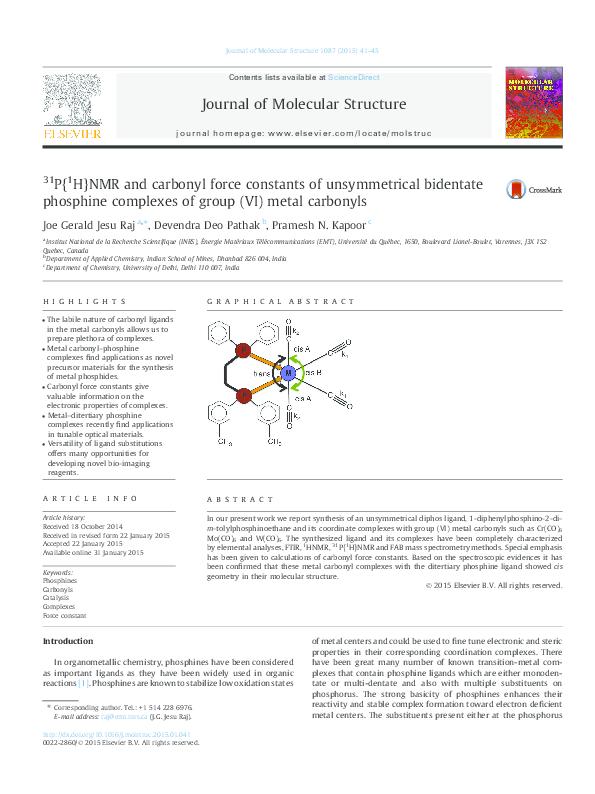 Pdf 31p 1h Nmr And Carbonyl Force Constants Of Unsymmetrical Bidentate Phosphine Complexes Of Group Vi Metal Carbonyls Pramesh Kapoor Academia Edu