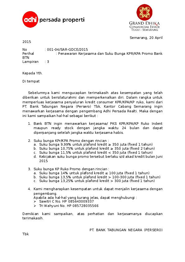 Doc Contoh Surat Penawaran Btn Siti Nur Afifah Academia Edu