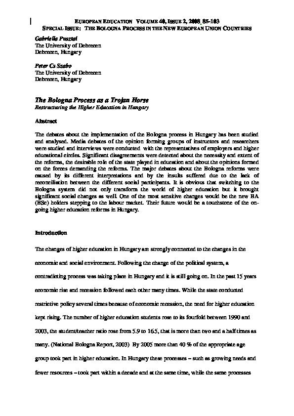 Pdf The Bologna Process As A Trojan Horse Gabriella Pusztai Academia Edu