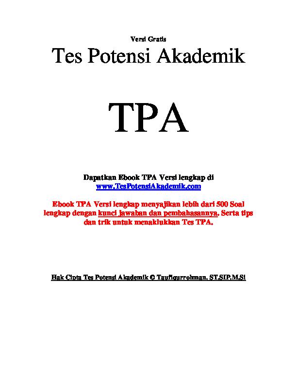 Pdf Tes Potensi Akademik Ifan Aliwafa Academia Edu