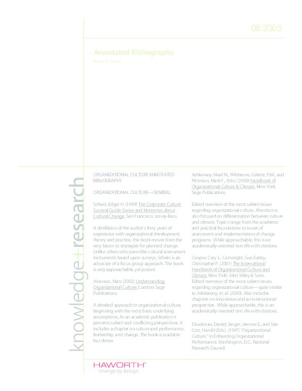 (PDF) Annotated Bibliography: Organizational Culture