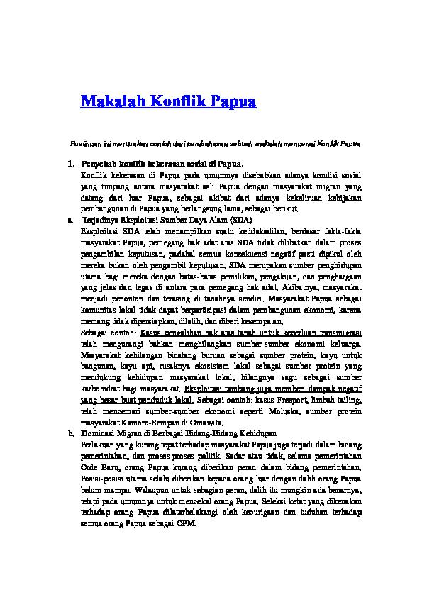 Doc Makalah Konflik Papua Rina Tri Handayani Academia Edu