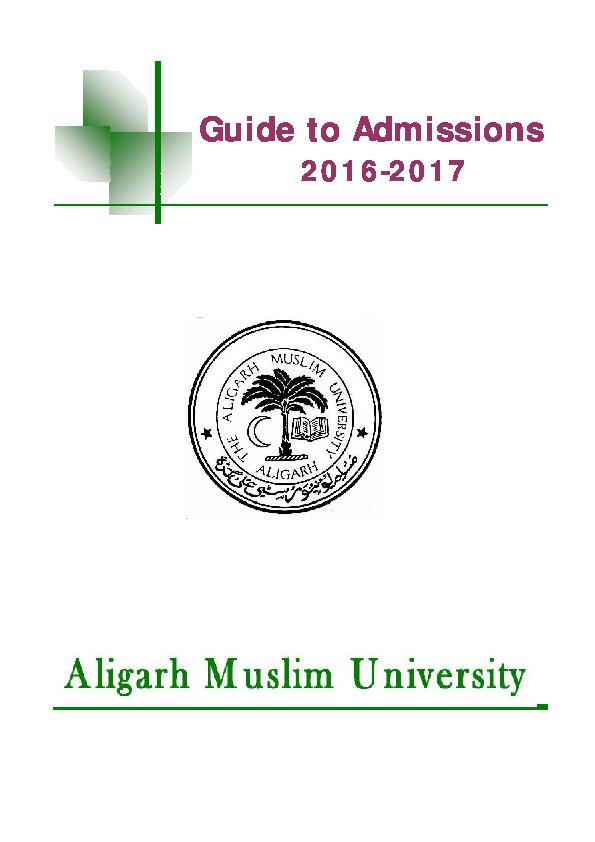 PDF) AMU GUIDE 2016 (PROSPECTUS 206-2017) ALIGARH MUSLIM