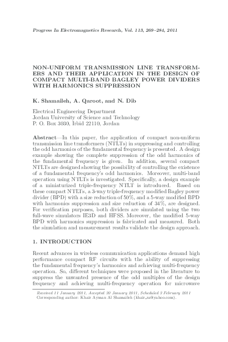 Pdf Non Uniform Transmission Line Transformers And Their Application In The Design Of Compact Multi Band Bagley Power Dividers With Harmonics Suppression Nihad Dib Academia Edu