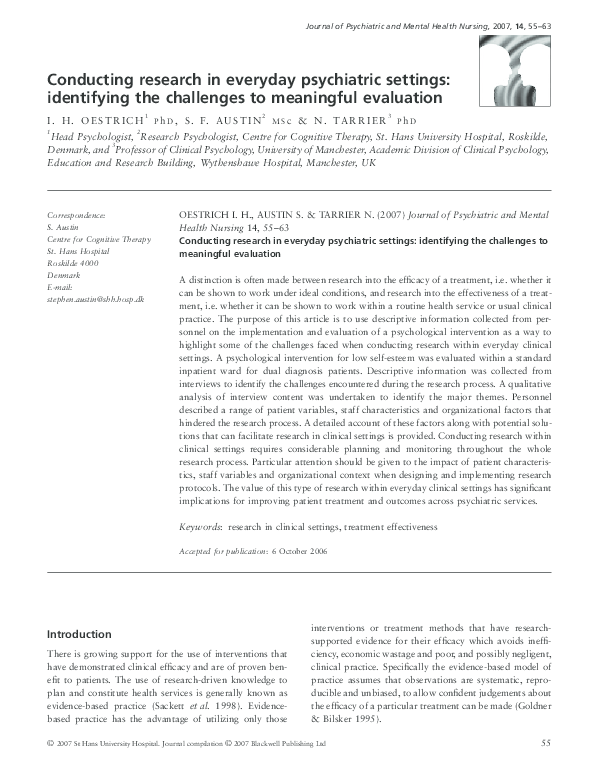 PDF) Conducting research in everyday psychiatric settings
