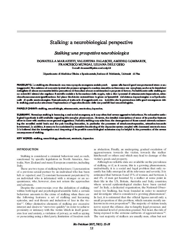 PDF) [Stalking: una prospettiva neurobiologica] | Valentina