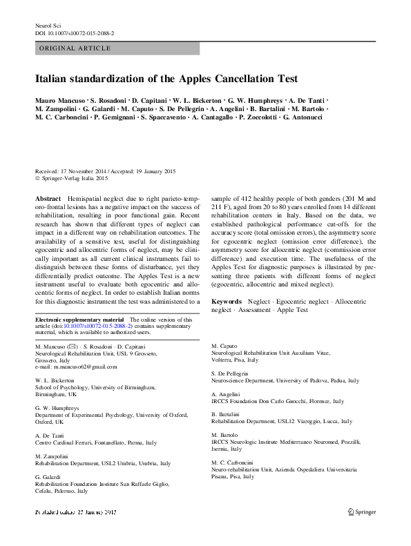 PDF) Italian standardization of the Apples Cancellation Test | Mauro