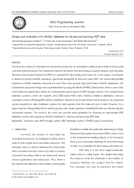 PDF) Design and evaluation of a NoSQL database for storing