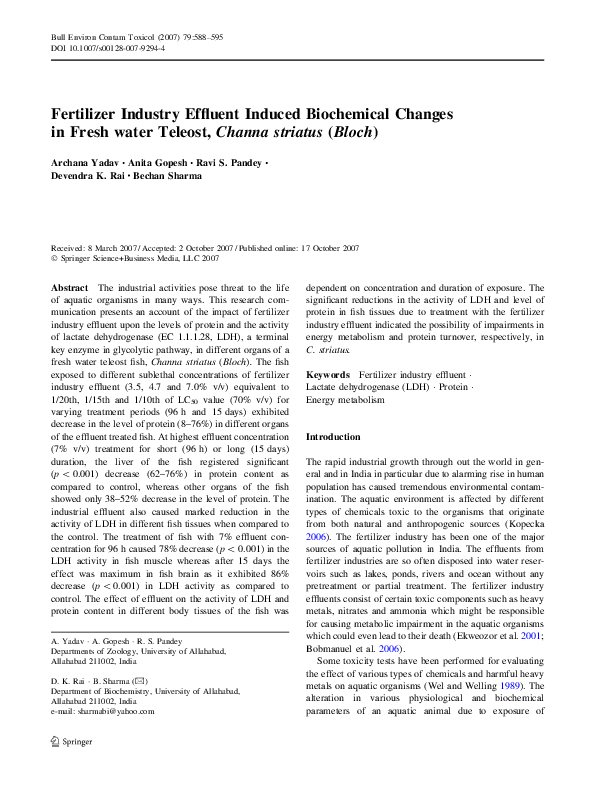 PDF) Fertilizer Industry Effluent Induced Biochemical Changes in