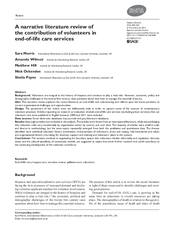 PDF) A narrative literature review of the contribution of